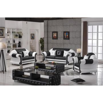 european style crystal tufted black leather sofa
