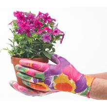 Guantes de trabajo de jardín de nitrilo con estampado de flores / Guantes de trabajo de jardinería con baño de nitrilo