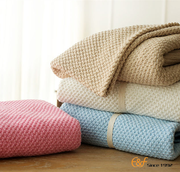 2017 spring knitted plain cotton sofa kids baby throw blamkets