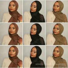 Vente chaude plaine couleur gland rides crimple femmes plissées plaine Châles écharpe viscose coton musulman froissé hijab