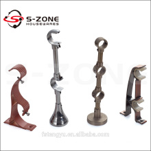 Extendable metal iron curtain rod bracket for drapery hardware
