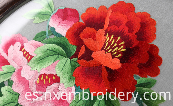 Hand Embroidered Artwork Peony