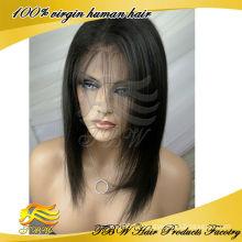 Gros indien remy cheveux humains courte perruque droite sans colle dentelle avant perruques