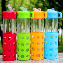 Drinking Straw Water Bottle with Silicone Sleeve