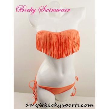 Sexy Lady's Piece Swimwear Swimwear Bandeau com Fringe