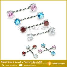 Aço Inoxidável Forma Redonda Red Cubic Zircon Cristal Jeweled Mamilo Barbell Piercing