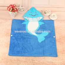 100%cotton fish print design baby hooded beach towel