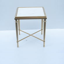 polished metal coffee table glass top side table
