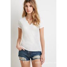 Camiseta barata al por mayor de las mujeres llanas del algodón
