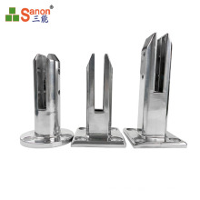 Foshan factory SS304 201 Glass Railing Clamp Stainless Steel Mirror Glass Clip Holder