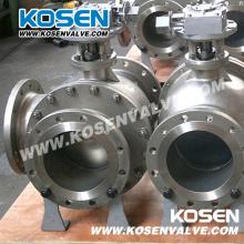 Válvulas de esfera do trunnion da flange de três maneiras do aço de molde