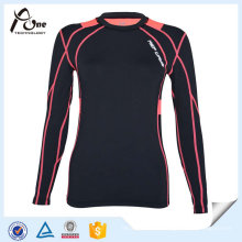 Dacron Elastane Long Sleeve T Shirt Women Fitness Wear