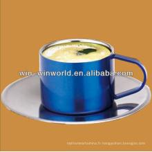 Tasses de café empilables adaptées aux besoins du client en gros d'acier inoxydable avec le support
