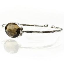 Pulseira de punho de prata esterlina com jóia com pedras preciosas com topázio com fumaça