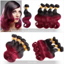 2 tons noir et rouge cheveux humains matériel et oui vierge cheveux en gros remy extension de cheveux humains