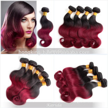 2 tone black and red human hair material and yes virgin hair wholesale remy human hair extension