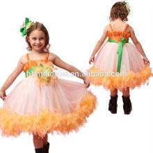 2017 nova moda desgaste da dança desempenho vestido de um pcs pena baby girl tutu dress