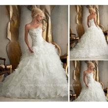 Современная Вышивка Бисером Слой Плиссировка Бальное Платье Свадебное Платье