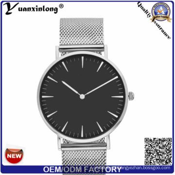 Venda quente YXL-198 mais novo malha cinta homens inox quartzo pulso Watch Mens Black Face do relógio relógios