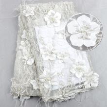 Tecido de tule com pérolas e pérolas para vestido de festa de luxo