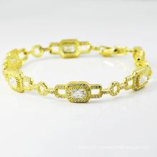 Новый дизайн ювелирных изделий с бриллиантами 14 к позолоченные браслеты.