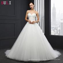 SL-032 Sweetheart Bodice Vestido de casamento feito sob medida Princesa Tulle Beading Lace 2016 Vestido De Novias