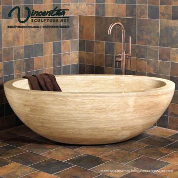 2018 популярных напольных твердая рука резные Отдельностоящей каменной ванной