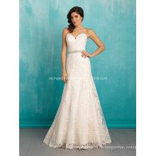 Nach Maß A-Linie Hochzeitskleid Tüll auf Spitze Brautkleid