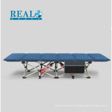 Low height single folding guest bed price with side bag and corduroy cotton mattress