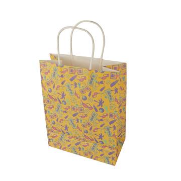 Eco-friendly Full Color Printing Vellum Paper Bag Flat Beautiful Kraft Paper Bag