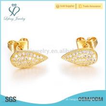 Brincos de ouro 18k, brincos de cobre para a mulher
