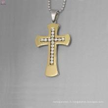 Pendentif croix en cristal de prix d'usine, pendentif croix or cristal, pendentifs en acier inoxydable en gros