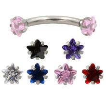 4MM internamente estrella cúbicos cúbicos roscados anillos de ceja de acero inoxidable