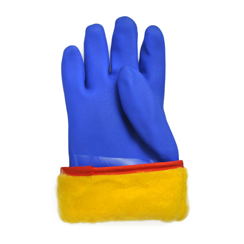 Blue PVC Coated glove cotton linning cashmere
