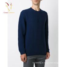 Homens Rodada Pescoço Merino Lã Manga Longa Casual Knit Pullover Sweater