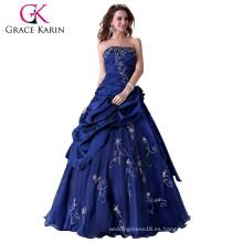 Grace Karin nueva moda sin tirantes azul hinchada bola vestidos CL2963