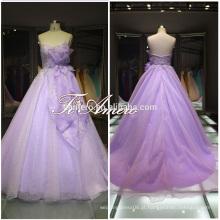 1A469 Popular para estúdio fotográfico Flower Girl A Line e Appliqued Lace Up Vestido de casamento Sweep Train Vestido de casamento 2016