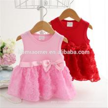 Baby-Prinzessin-Babystrampler des heißen Verkaufs des netten großen Blumenbabyoveralls sleeveless mit Bogen