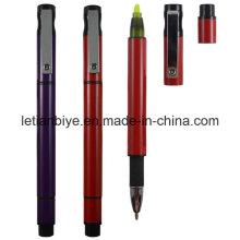 Plastic Ball Pen with Highlighter Nite Writer Pen (LT-D009)