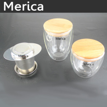 Transparent Double Wall Borosilicate Glass Cup with Cover