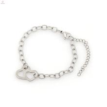 Conception populaire bracelet perle cool hommes, argent chaîne en acier inoxydable bracelet en gros