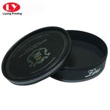 Rigid black cardboard round box with lid
