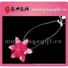 Acessórios ShangDian Melhor Jóias Gemstone Colar Floral Rosa Bonita