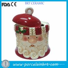 Venda quente Natal Pai Presente Cerâmica Cookie Jar