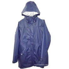 Taped Navy Solid PU Waterproof Raincoat for Adult