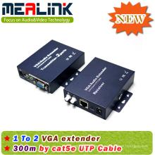 300m 1X2 VGA Extender Over Cat5e com Áudio