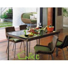 DS-(234) rattan indoor furniture modern square rattan indoor dining table