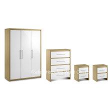 4 Stück Hochglanz Schlafzimmer Holzmöbel Kleiderschrank Set (BD23)