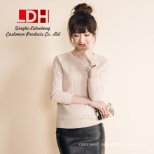 2017 New women pure customized oversize genuine cashmere pullovers rond collar long sleeve sweater