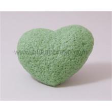 Forme du coeur Nettoyage du visage Éponge Dry Grean Tea Konjac Sponge